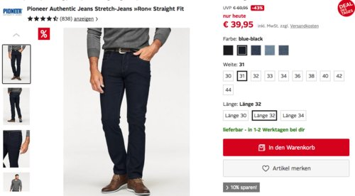 "Pioneer Authentic Stretch-Jeans ""Ron"" Straight Fit - jetzt 16% billiger"