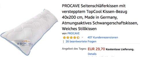 PROCAVE Seitenschläferkissen, 40x200 cm - jetzt 15% billiger