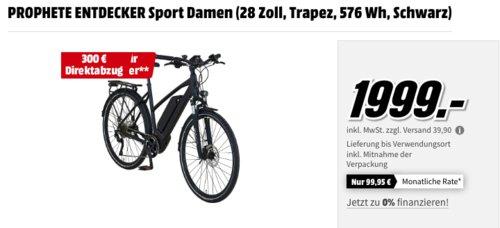 Prophete Entdecker Sport Damen E-Bike (28 Zoll, Trapez, 576 Wh, Schwarz) - jetzt 15% billiger