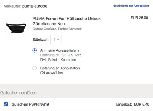 PUMA Ferrari Fan Hüfttasche, schwarz - jetzt 30% billiger