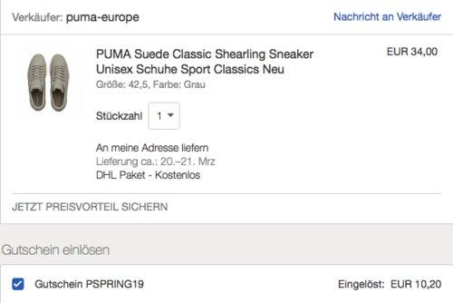 "PUMA ""Suede Classic Shearling"" Unisex Sneaker, grau oder schwarz - jetzt 64% billiger"