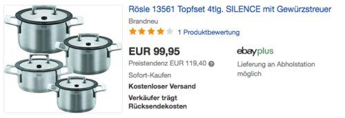 Rösle 13561 Silence Topfset, 4tlg. inkl. Gewürzstreuer - jetzt 23% billiger