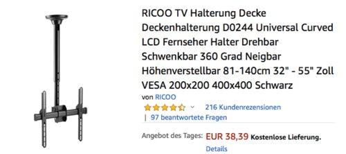 """RICOO TV-Deckenhalterung D0244, 32"""" - 55"""" Zoll - jetzt 23% billiger"""
