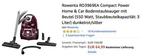 Rowenta RO3969EA Compact Power Home & Car Bodenstaubsauger mit Bodenstaubsauger mit Beutel - jetzt 7% billiger