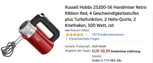 Russell Hobbs 25200-56 Retro Handmixer, 500 Watt, rot - jetzt 18% billiger