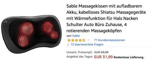 Sable SA-PCA001 Akku-Massagekissen mit Wärmefunktion - jetzt 14% billiger