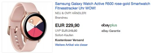 Samsung Galaxy Watch Active R500, rose-gold - jetzt 8% billiger