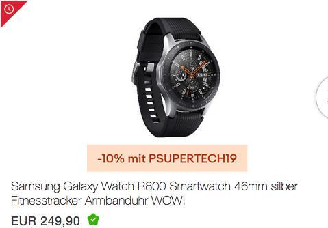 Samsung Galaxy Watch R800 Smartwatch 46mm, silber - jetzt 10% billiger