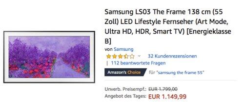 Samsung LS03 The Frame 138 cm (55 Zoll) LED Lifestyle Fernseher - jetzt 6% billiger