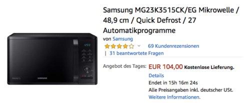 Samsung MG23K3515CK/EG Mikrowelle mit Grillfunktion, 23 Liter, schwarz - jetzt 19% billiger