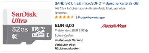 SanDisk Ultra microSDHC Speicherkarte 32 GB - jetzt 25% billiger