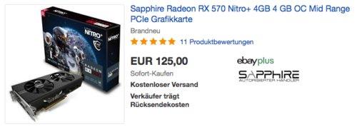 Sapphire Radeon RX 570 Nitro+ 4GB Grafikkarte(11266-46-20G) - jetzt 14% billiger