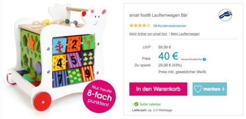 small foot® Holz-Lauflernwagen Bär, bunt - jetzt 20% billiger