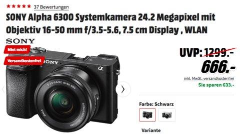 SONY Alpha 6300 Systemkamera mit 16-50 mm Objektiv, 24.2 Megapixel, WLAN, schwarz - jetzt 11% billiger