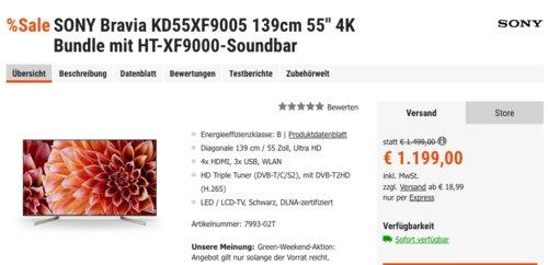 """SONY Bravia KD55XF9005 139cm 55"""" 4K-Fernseher inkl. Sony HT-XF9000-Soundbar - jetzt 13% billiger"""
