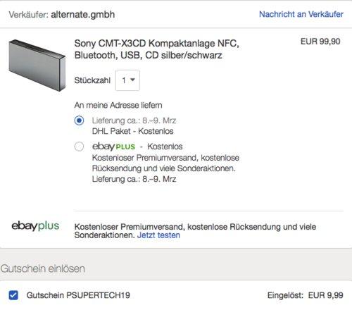 Sony CMT-X3CD Micro-HiFi System, 20 Watt, silber/schwarz - jetzt 14% billiger