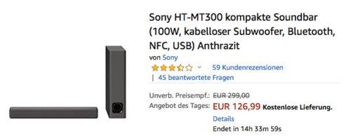 Sony HT-MT300 2.2 Soundbar mit kabellosem Subwoofer, 100W - jetzt 14% billiger