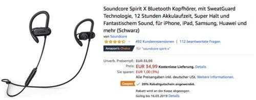 Soundcore Spirit X Bluetooth Kopfhörer, schwarz - jetzt 20% billiger