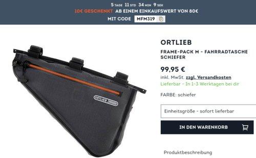 SportScheck.com - 10€ Rabatt ab80€Mindestbestellwert: z.B. ORTLIEB Frame-Pack M Fahrradtasche - jetzt 10% billiger