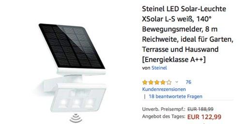 Steinel LED Solar-Leuchte XSolar L-S weiß, 140° Bewegungsmelder - jetzt 21% billiger