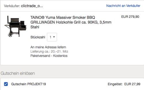"""TAINO """"Yuma"""" XXL 90kg Smoker mit ca. 3,5mm Wandstärke - jetzt 16% billiger"""