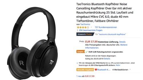 TaoTronics TT-BH22 Bluetooth Kopfhörer mit Noise Cancelling, schwarz - jetzt 9% billiger