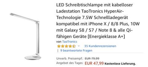 TaoTronics TT-DL044 LED Schreibtischlampe mit Qi-Ladepad - jetzt 21% billiger