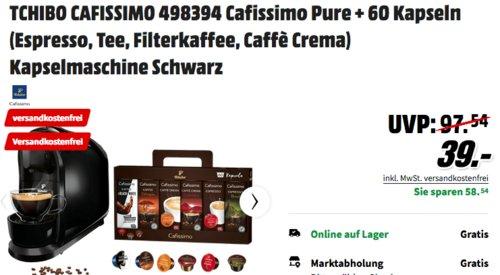 Tchibo Cafissimo 498394 Pure Kaffeekapselmaschine in Schwarz  inkl. 60 Kapseln - jetzt 20% billiger