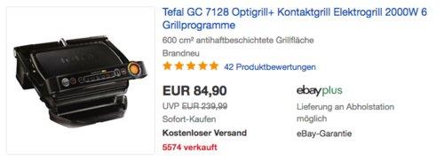 Tefal GC 7128.50M Optigrill+ Elektrogrill, 6 Grillprogramme - jetzt 11% billiger