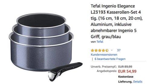 Tefal Ingenio Elegance L23193 Kasserollen-Set, grau/blau, 4-tlg. - jetzt 15% billiger