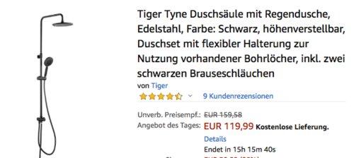 Tiger Tyne Duschsäule mit Regendusche, schwarz - jetzt 45% billiger