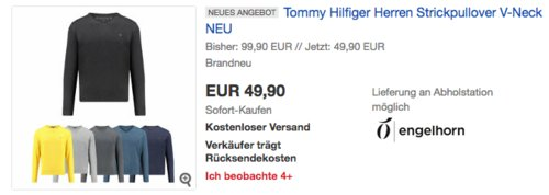 Tommy Hilfiger Herren Strickpullover mit V-Neck, versch. Farben und Größen - jetzt 17% billiger