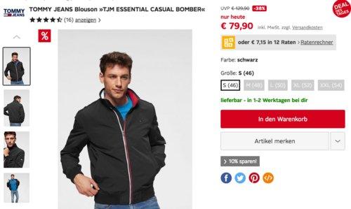 "TOMMY JEANS Blouson ""TJM ESSENTIAL CASUAL BOMBER"" Gr. S, schwarz - jetzt 21% billiger"