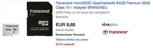 Transcend 64GB microSDXC 300S Speicherkarte Class 10 inkl. Adapter - jetzt 26% billiger