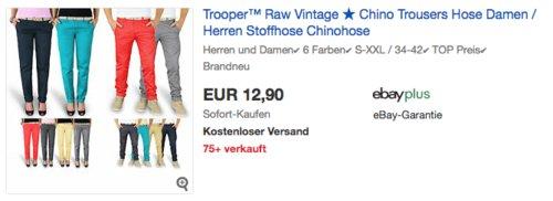 Trooper™ Raw Vintage Damen und  Herren Chinohose - jetzt 35% billiger