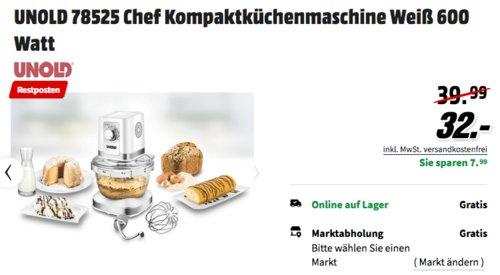 UNOLD 78525 Chef Kompaktküchenmaschine, 600 Watt - jetzt 20% billiger