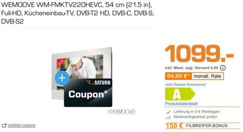 WEMOOVE WM-FMKTV220HEVC 54 cm (21.5 Zoll) Spiegel-Kücheneinbau-TV inkl. 150€ Coupon - jetzt 12% billiger
