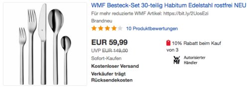 WMF Habitum Besteckset, 30-teilig - jetzt 24% billiger