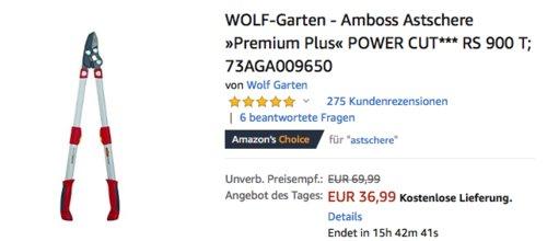 """WOLF-Garten - Amboss Astschere """"Premium Plus"""" POWER CUT RS 900 T - jetzt 24% billiger"""