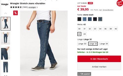 """Wrangler Herren Stretch-Jeans """"Durable"""" Straight-fit in versch. Farben und Größen - jetzt 25% billiger"""