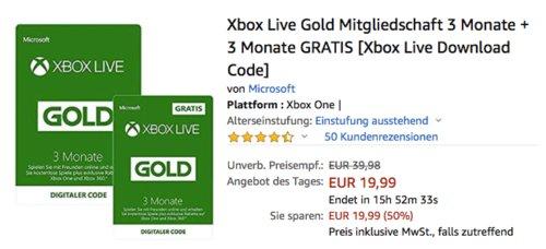 Xbox Live Gold Mitgliedschaft 3 Monate + 3 Monate GRATIS (Code) - jetzt 33% billiger