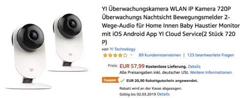 YI Überwachungskamera WLAN IP Kamera 720P, 2er Set - jetzt 34% billiger