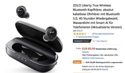 ZOLO Liberty True In-Ear Bluetooth-Kopfhörer (AK-Z2001011) - jetzt 33% billiger