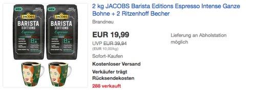 2 kg JACOBS Barista Editions Espresso Intense Ganze Bohne + 2 Ritzenhoff Becher - jetzt 31% billiger