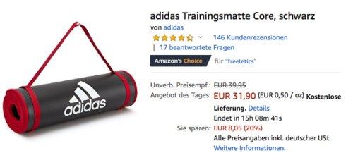 adidas Trainingsmatte Core 183x61 cm, schwarz - jetzt 20% billiger