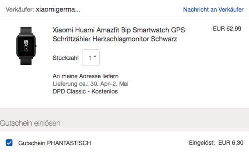 Amazfit Bip Huami SmartWatch mit GPS und Pulsmesser, Schwarz ( A1608-1) - jetzt 10% billiger