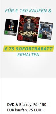 Amazon: Für 150 EUR Filme kaufen - 75 EUR sparen (bis 28.4.2019) - jetzt 50% billiger