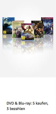 Amazon Filme und TV-Serien - Aktion (DVD & Blu-ray): 3 kaufen, 2 zahlen - jetzt 36% billiger