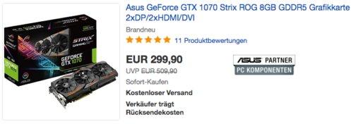 Asus GeForce GTX 1070 Strix ROG 8GB GDDR5 Grafikkarte - jetzt 14% billiger