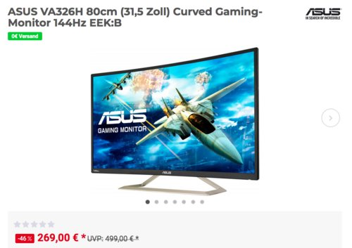 ASUS VA326H 80cm (31,5 Zoll) Curved Gaming-Monitor (4 ms, 144Hz) - jetzt 18% billiger